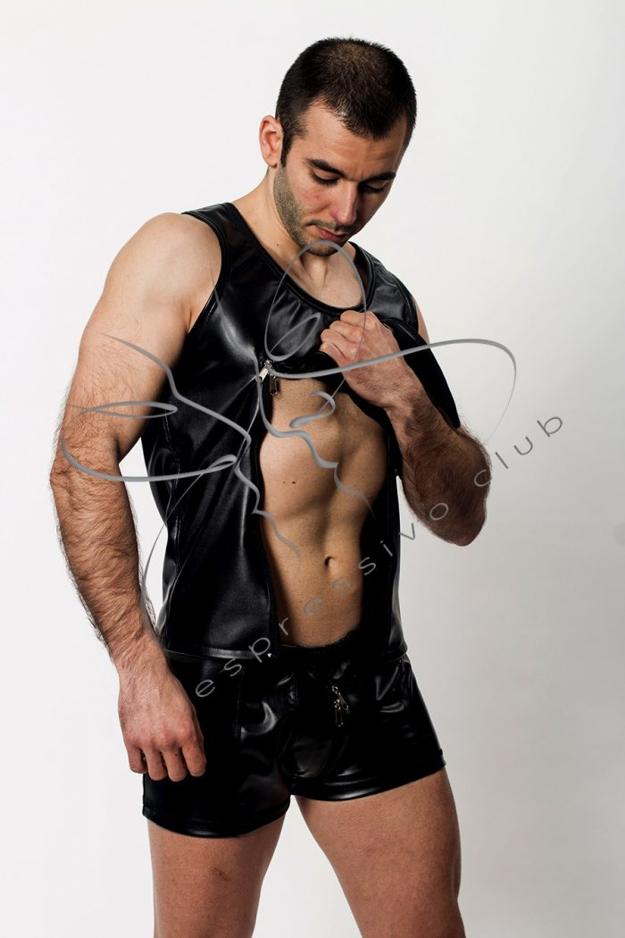 leather t-shirt, bondage clothing, BDSM fetish leather tank top mens slim fit, Dominant clothing, Fetish wear men, Black leather DomT-shirt, Master Submissive tank top, ddlg