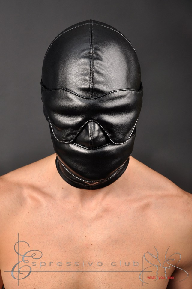 leather, hood, leather hood, fetish, kinky, restraints, bondage, bdsm, fetish bdsm, accessories, mouth gag, blindfold, muzzle, mistress, submissive