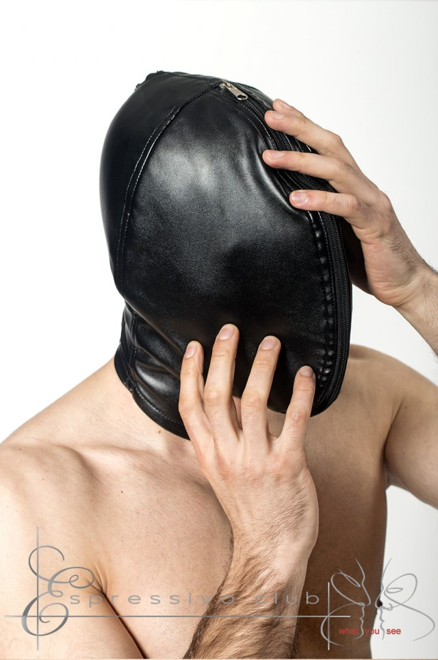 Double Skinned Breath Play Leather Mask / Sensory deprivation hood / Bondage hood for discipline and air control games / Handmade BDSM masks