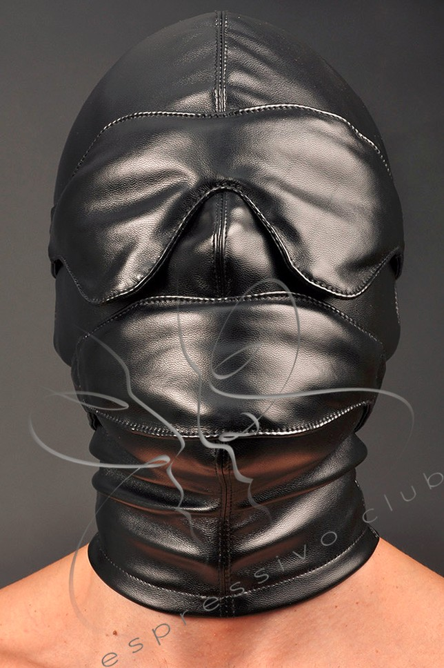 Fetish leather hood with accessories 1