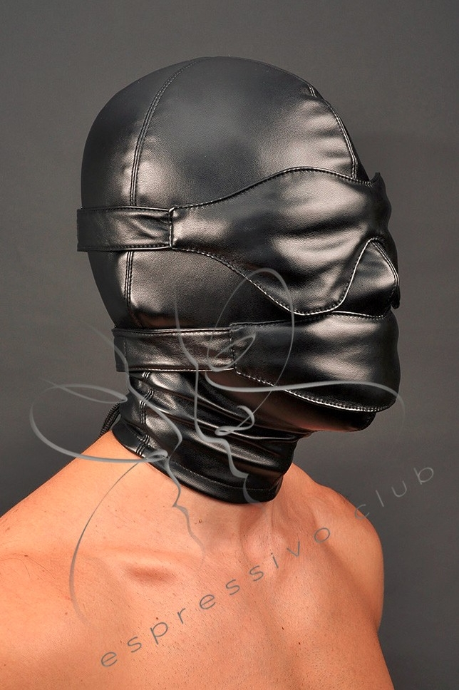 leather hood with soft mouth gag and leather blindfold 2
