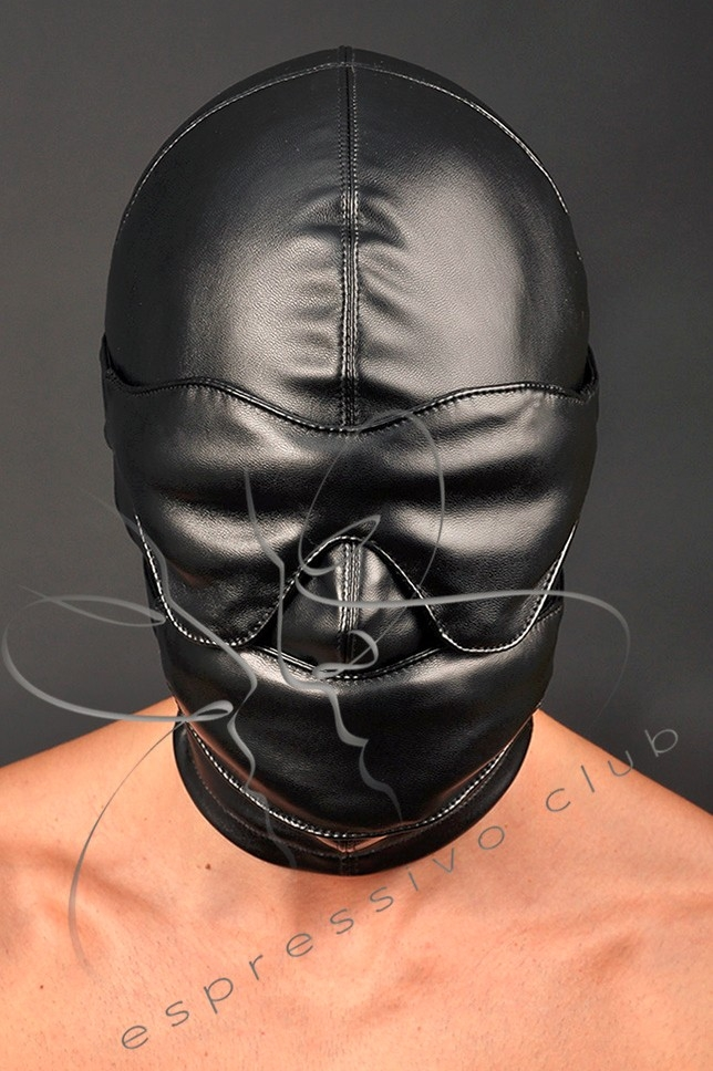 leather hood with soft mouth gag and leather blindfold 3