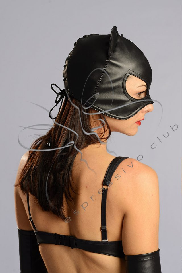 Catwoman mask / Leather Mistress mask / Female leather mask / Bad Кitten mask / Female submissive hood / Fetish Leather half-hood / Cosplay Pussycat costume / Female Party hood