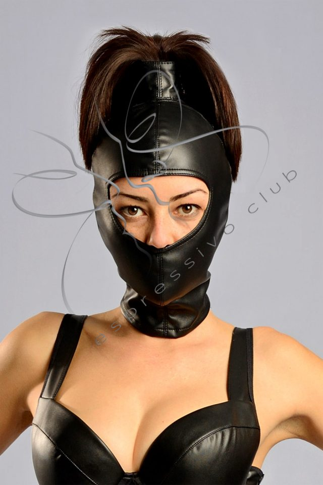 Gwen Hood with ponytail, Gwendoline Bondage Hood, bondage hood, bondage, Leather Beanie Hood with ponytail, Female submissive mask, leather hood, leather mask, bdsm hood, Leather Ponytail Hood, Female ponytail hood, Ponytail fetish bdsm mask