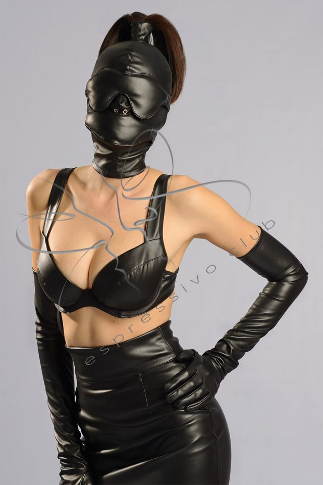 Classical BDSM hood / Female submissive mask with ponytail and bondage accessories / Leather Ponytail Hood +leather blindfold and mouth bandage / Female ponytail hood / Ponytail fetish mask / Strict bondage mask / Leather bondage hood