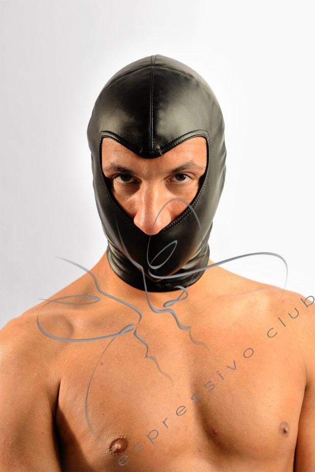submissive mask, Strict slave mask , ponytail, leather hood, leather mask, bondage hood, Beanie BDSM Hood, Beanie Hood
