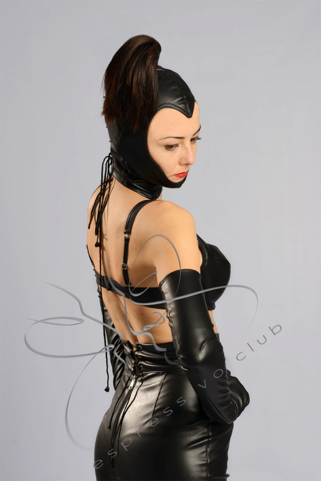 open face hood bdsm, bdsm leather mask, bdsm ponytail hood, leather ponytail mask, female leather mask, female fetish hood, female leather hood, fetish leather mask, fetish goddess mask, leather mistress mask, leather dominatrix outfit