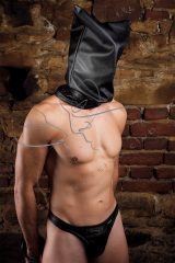 intense BDSM play, leather bag hood, bondage bag hood, BDSM head bag, sample baghood, breath play bag, bdsm interrogation room, bdsm inquisitor
