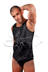 Black leather tank top mens slim fit, leather tank top, t-shirt, vest, leather t-shirt