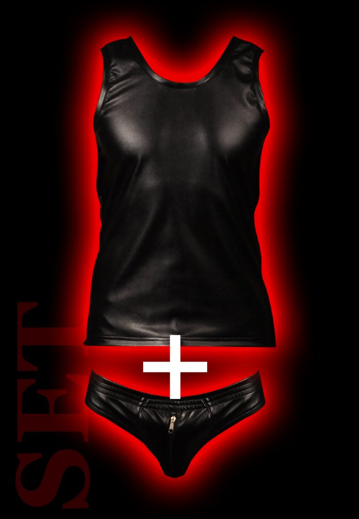 Fetish clothing SET for men - leather tank top & front zip briefs, BDSM, bdsm clothing, bdsm clothing men, fetish clothing, fetish clothing men, bdsm-gear, mens clothing, mens tank top, mens underwear