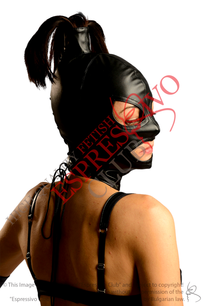 Ponytail full face hood for Fetish parties and bdsm events